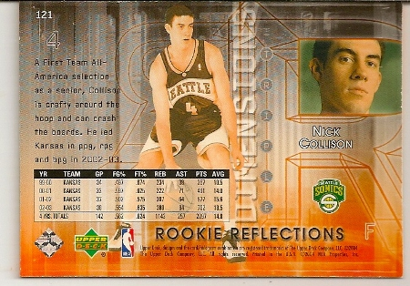 Nick Collison 2003-04 Triple Dimensions 3-D Rookie Reflections Rookie Card Back