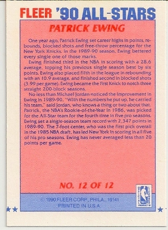 Patrick Ewing 1990-91 Fleer All-Star Basketball Card Back