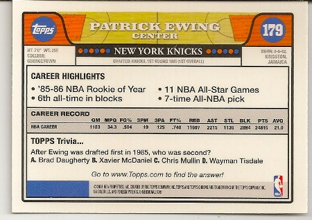 Patrick Ewing 2008-09 Topps Chrome Basketball Card Back