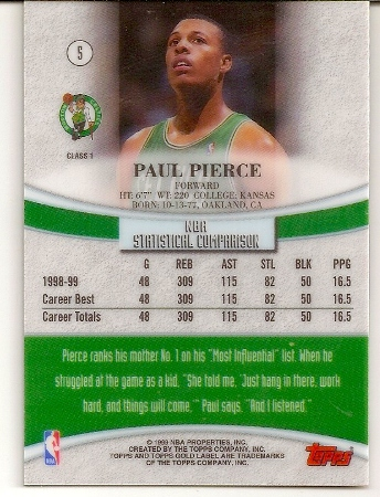 Paul Pierce 1999-00 Topps Label Class 1 Basketball Card Back