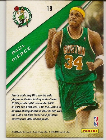 Paul Pierce 2009-10 Playoff Contenders Insert Basketball Card Back