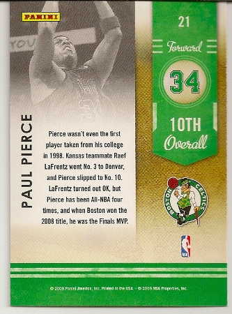 Paul Pierce 2009-10 Playoff Contenders Lottery Winners Basketball Card Back