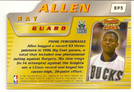 Ray Allen 1996-97 Bowman's Best Picks Rookie Card Back