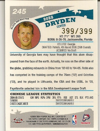 Robb Dryden 2005-06 Topps Chrome Black Refractor Rookie Card Back