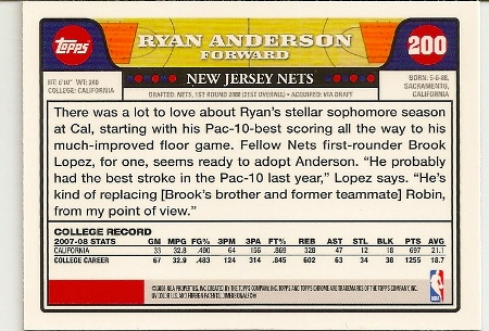Ryan Anderson 2008-09 Topps Chrome Rookie Card Back