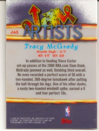 Tracy McGrady 2000-01 Topps Label Jam Artists Basketball Card Back