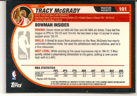 Tracy McGrady 2007-08 Bowman Chrome Basketball Card Back