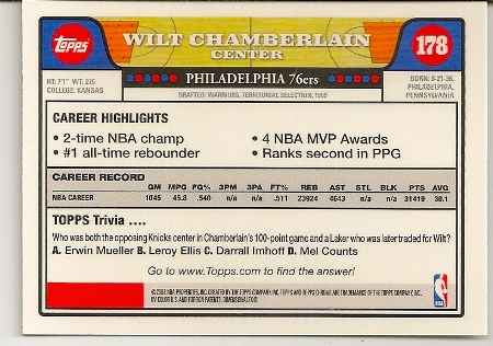 Wilt Chamberlain 2008-09 Topps Chrome Basketball Card Back
