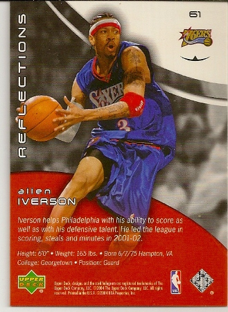 Allen Iverson 2003-04 Triple Dimensions Reflections Basketball Card Back