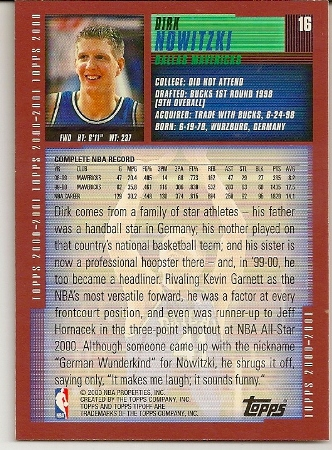Dirk Nowitzki 2000-01 Topps Tip-Off Card Back