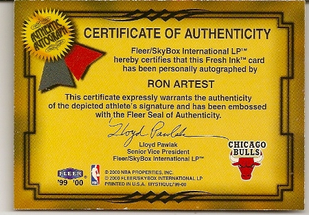 Ron Artest 1999-00 Fleer Mystique Fresh Ink On Card Autograph Card Back