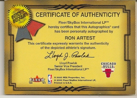 Ron Artest 2000-01 Fleer Skybox Autographics Basketball Card Back