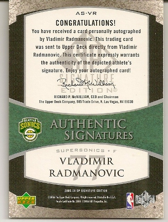 Vladimir Radmanovic 2005-06 SP Authentic Signatures Autograph Card Back