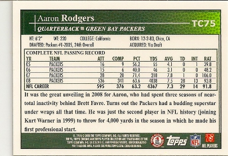 Aaron Rodgers 2009 Topps Chrome Card Back
