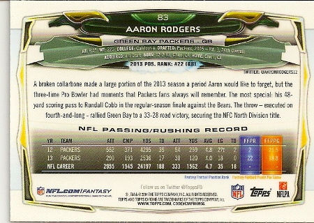 Aaron Rodgers 2014 Topps Chrome Green Refractor Card Back