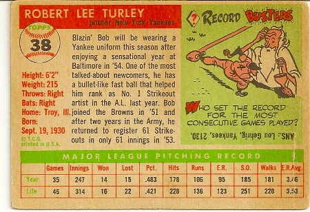 Bob Turley 1955 Topps Baseball Rookie Card Back