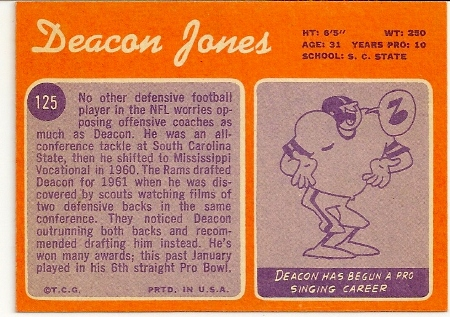 Deacon Jones 1970 Topps Football Card Back