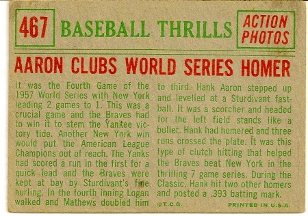 Hank Aaron 1959 Topps Baseball Thrills Card Back