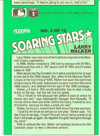 Larry Walker 1990 Fleer Soaring Stars Miscut Error Card Back