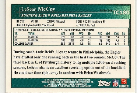 LeSean McCoy 2009 Topps Chrome Xfractor Rookie Card Back
