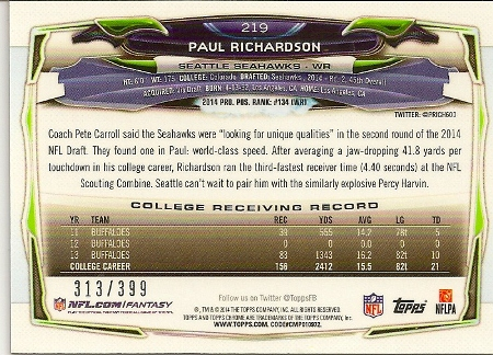 Paul Richardson 2014 Topps Chrome Pink Refractor Rookie Card Back