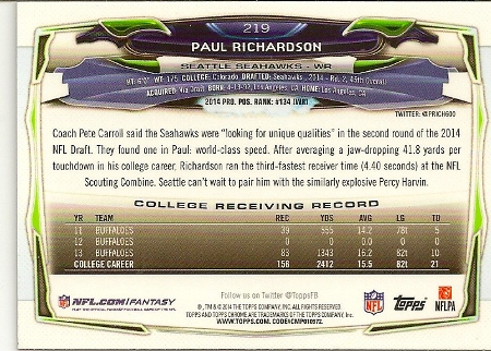 Paul Richardson 2014 Topps Chrome Refractor Rookie Card Back