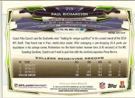 Paul Richardson 2014 Topps Chrome Rookie Card Back