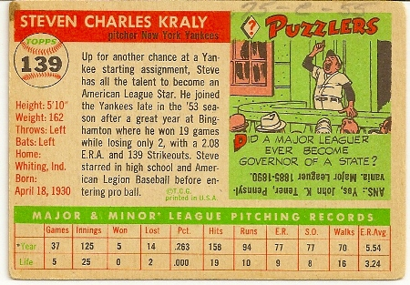 Steve Kraly 1955 Topps Baseball Rookie Card Back