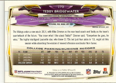Teddy Bridgewater 2014 Topps Chrome Refractor Rookie Card Back