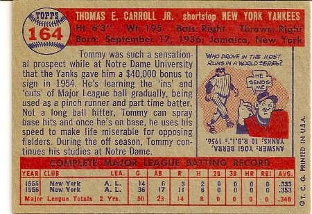 Tommy Carroll 1957 Topps Baseball Card VG-EX 4 Back