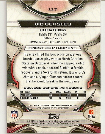 Vic Beasley 2015 Topps Finest Refractor Rookie Card Back