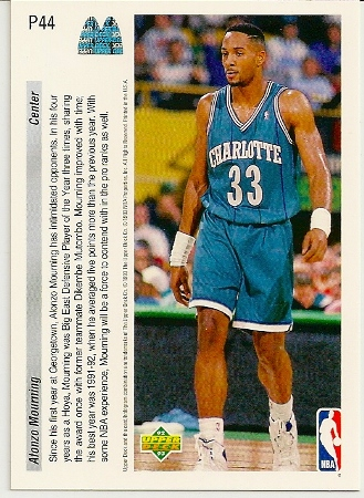 Alonzo Mourning 1992-93 Upper Deck McDonald's Basketball Card Back