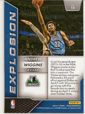 2016-17 Panini Prizm Andrew Wiggins Explosion Insert Card