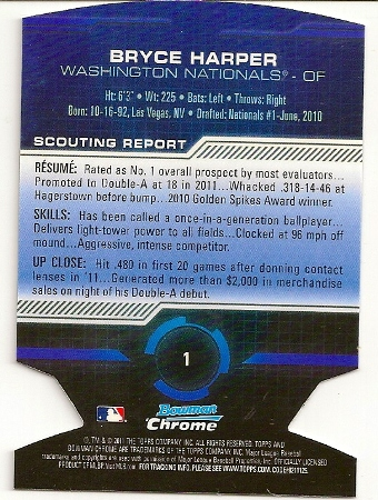 Bryce Harper 2011 Bowman Chrome Die-Cut Rookie Card Back