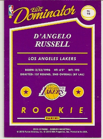 2015-16 Donruss Elite Dominator D'Angelo Russell Rookie Card