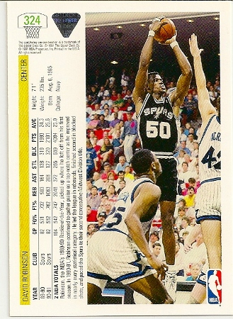 David Robinson 1991-92 Upper Deck Basketball Card Back