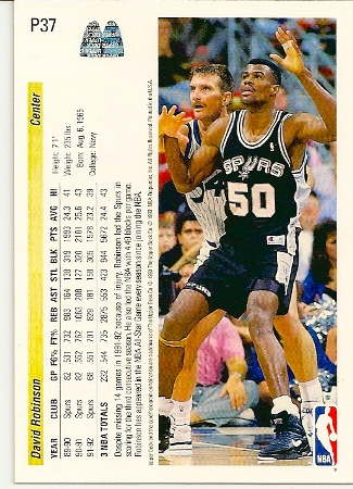 David Robinson 1992-93 Upper Deck McDonald's Basketball Card Back