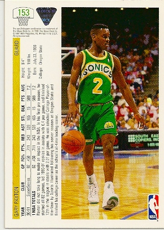 Gary Payton 1991-92 Upper Deck Basketball Card Back