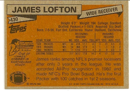 James Lofton 1981 Topps Football Card Back