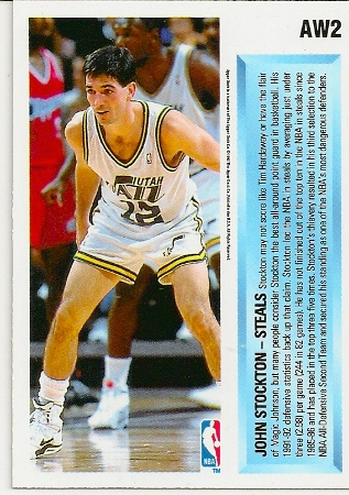 John Stockton 1992-93 Upper Deck Hologram Basketball Card Back