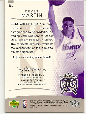 Kevin Martin 2004-05 SP Authentic On Card Autograph Rookie Card Back