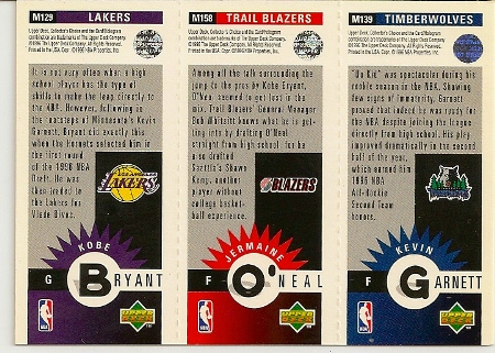 Kobe Bryant 1996-97 Upper Deck Collector's Choice Rookie Card Back
