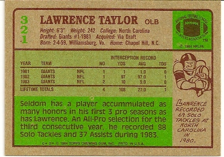 Lawrence Taylor 1984 Topps Football Card Back