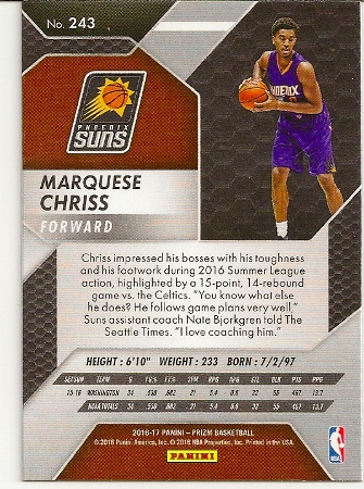2016-17 Panini Prizm Marquese Chriss Rookie Card