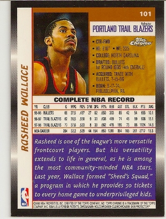 1998-99 Topps Chrome Refractor Rasheed Wallace Card