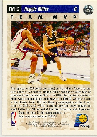 Reggie Miller 1992-93 Upper Deck Team MVP Basketball Card Back