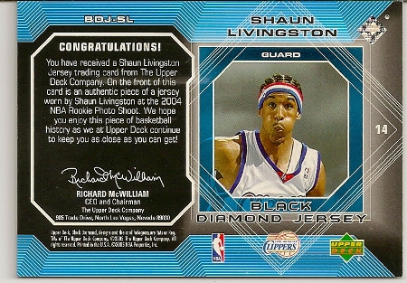 Shaun Livingston 2004-05 Upper Deck Black Diamond Jersey Rookie Card Back