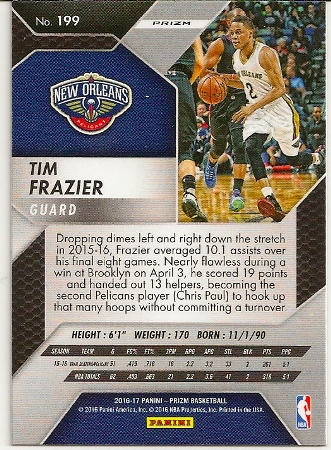 2016-17 Panini Prizm Green Refractor Tim Frazier Basketball Card