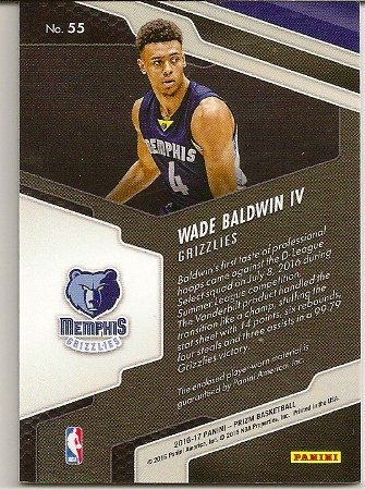 2016-17 Prizm Rookie Jersey Patch Wade Baldwin Basketball Card