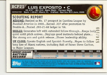 luis-exposito-2010-bowman-chrome-purple-refractor-rookie-card-back